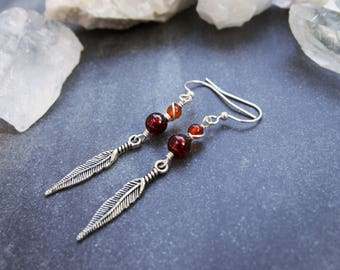 Amber Boho Feather Wire Wrapped Dangle Earrings