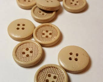 Lot of 10 round natural wooden buttons 18mm,decorative button with 4 holes, natural wood button, scrapbooking button.
