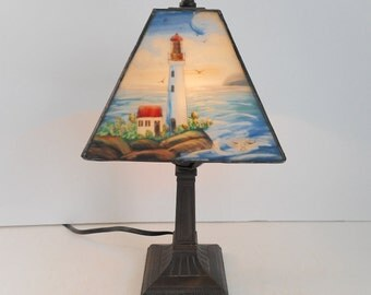 Lighthouse Lamp with Four Sided Reverse Painted Glass Shade