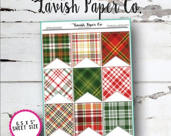 Christmas Tartan Full Box Flag  Planner Stickers by Lavish Paper Co. | for Erin Condren, Happy Planner, inkWell Press, SewMuchCrafting
