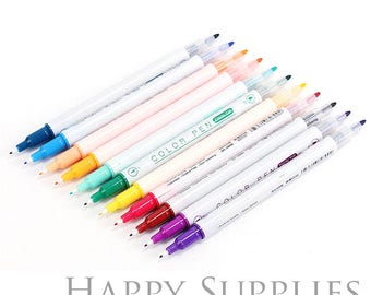 Set of 12 Color Double-headed Water Pen, Color Hook Line Pen for Paper Working, Scrapbook, Wedding