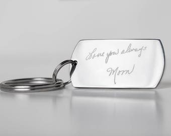 Stainless Steel Handwriting Keychain - Memorial Keychain - Engraved Signature Keyring - Personalized  Keychain - Memorial Keyring