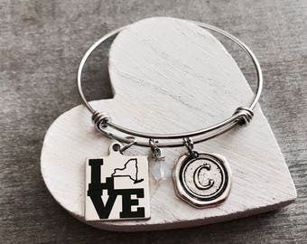 Love New York State, Silver Bracelet, New York, State Jewelry, State, College, Leaving, goodbye,Going away,  Charm Bracelet, Gifts for