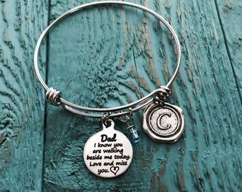 Walk with me, I know you are, walking beside me, Mom, Dad, Grandma, Grandpa, Gift for Bride, Silver Bracelet, Charm Bracelet, Memorial