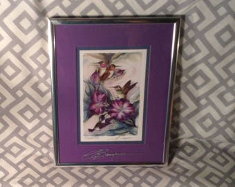 Hummingbird Picture, Silver Frame - Colorful Birds & Purple Flowers - Bergsma Galleries, Reproduction of Original Watercolor by Jody Bergsma