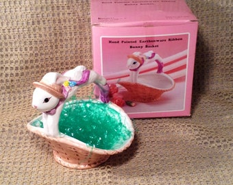 Pink Hand Painted Earthenware Ribbon Bunny Rabbit Basket - Brinn's China, Original Box - Easter, Springtime Table Centerpiece, Candy Dish