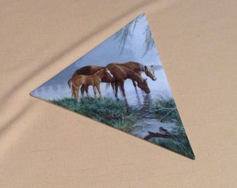 Decorative Glass Triangle with Horse Picture - DIY Crafts - Morning Reflections, 1st Issue Visions of Serenity Collection, Bradford Exchange