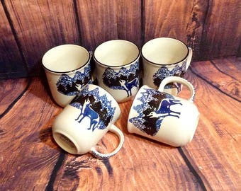 "Set of 5 Blue & White Wolf Coffee Cups or Mugs - Spotted Picture, Wolf in Mountains - Folk Craft, by Tienshan - 4"" Tall"