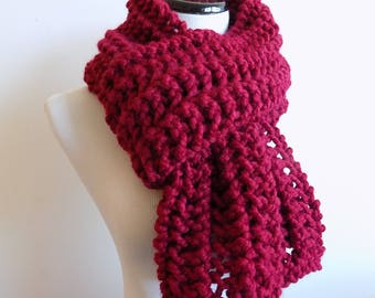 Hand Knit Cranberry Red Color Scarf - Knitted Red Scarf - Chunky Wide Lacey Knit Scarf ~ Hand Knit  Warm Winter Wool Blend Scarf