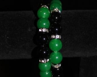Midnight green memory wire bracelet