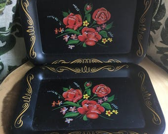 Floral Tin Snack Trays