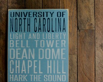 University of North Carolina Tar Heels Distressed Wood Sign--Great Father's Day Gift!