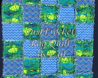 Fish and Chevron Boy Baby Blanket Rag Quilt 36 inches x 40 inches