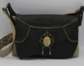 Gothic Dragon Black Leather Shoulder Bag with Framed Feldspar --Dragon Tamer