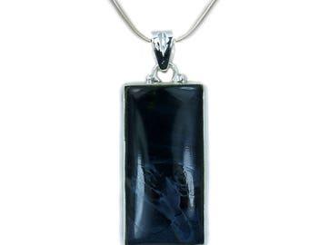 Large Blue Velvet Pietersite Necklace Pietersite Pendant 925 Sterling Silver Pendant AF858
