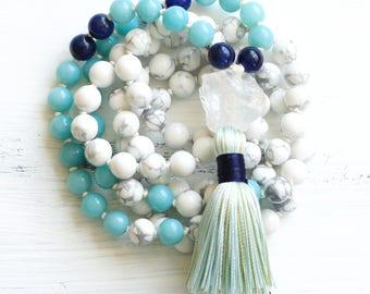 Howlite Mala Necklace, Amazonite Mala Beads 108, Prayer Beads, Boho Jewelry, Yoga Jewelry, Tassel Necklace