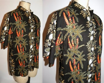 1990s 90s Rayon Hawaiian Shirt / Vivid Palm Trees and Coconuts on Black / Vintage size Large / Men's