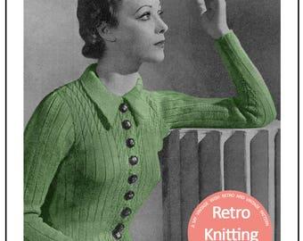 1930s Ladies Cardigan Vintage Knitting Pattern - PDF Knitting Pattern - PDF Instant Download