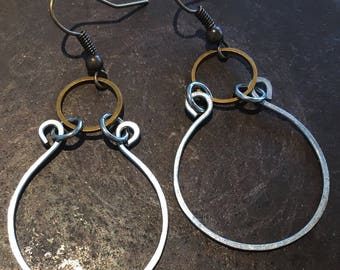 Steel and Antiqued Brass Earrings