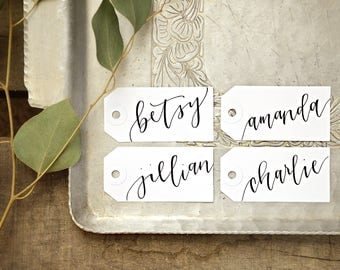 Gift tags etsy calligraphy personalized gift tags wedding place cards bachelorette party name tags handwritten placecards negle Choice Image