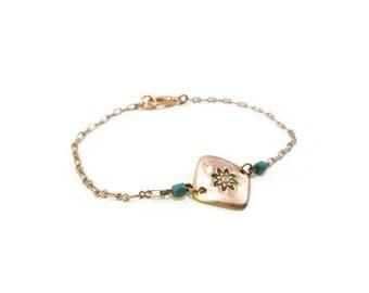 Bracelet fin losange en cuivre perles bleu-canard et chaîne