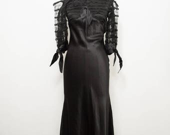 vintage 1930s black satin bias cut lace gown