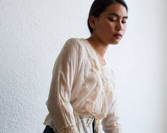 antique edwardian cream cotton crochet blouse