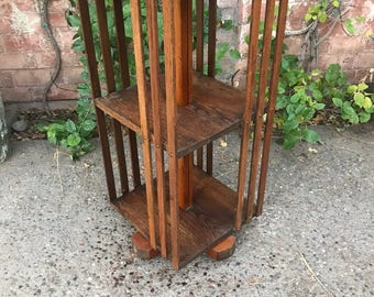 Antique Rotating Revolving Danner Tiger Oak Mission Style Two Shelf Bookcase on Casters