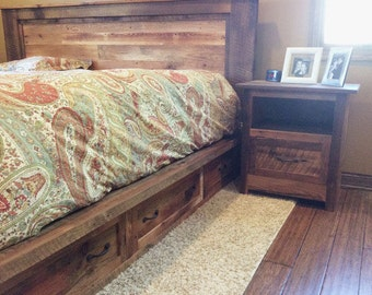 Reclaimed Wood Platform Bed Frame with Storage Drawers