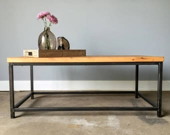 reclaimed wood coffee table steel box frame base