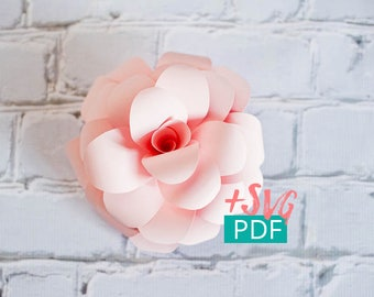 Paper Flower Template SVG PDF, Cricut, diy Flower, diy Decor, Large Paper Flower, Paper Rose, Nursery Decor, Wedding Decor, Flower Backdrop