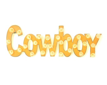 Cowboy Marquee Rusted Metal Vintage Inspired Lighted Sign