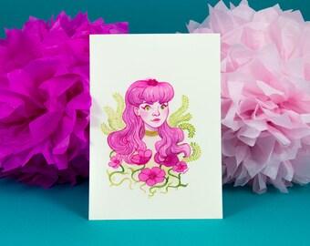 Flower Girl - Original Watercolour Illustration - Floral Illustration