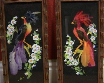 Beautiful Vintage Mexican Feather Art Exotic Bird Wall Art