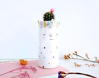 Unicorn ceramic planter, Unicorn ceramic plant pot, Unicorn gift, Ceramics & Pottery, Succulent unicorn planter, Unicorn succulent planter,