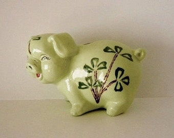 Piggy Bank Pottery Pig Hand Painted