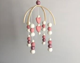Pink Hearts/Glitter/White Mini Double Arch Felt Ball Mobile