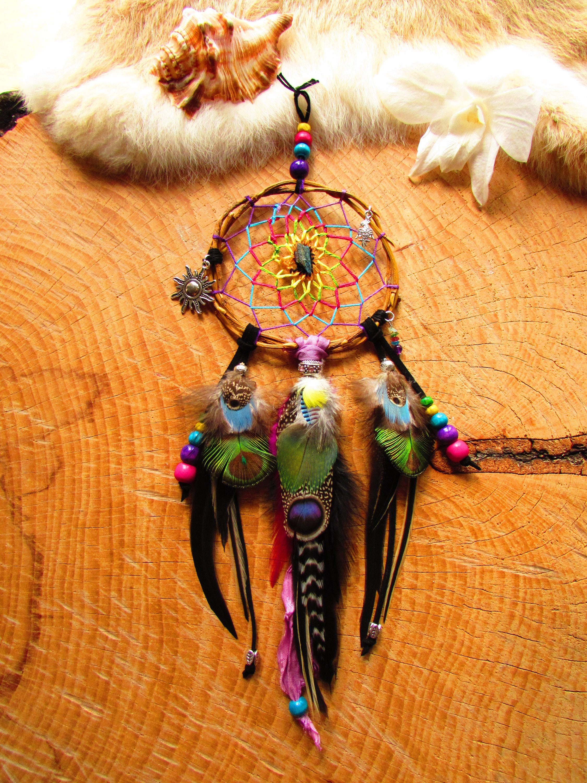 Dream catcher wood willow hematite Rainbow Parrot sari