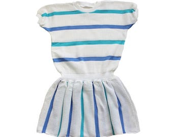 FRENCH VINTAGE 80's / kids / summer knitted dress / striped dress / new old stock / size 8/10 years