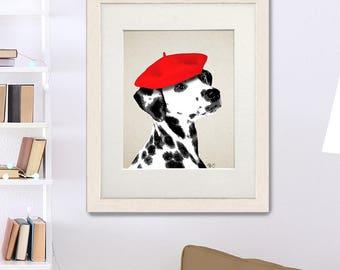 Dalmatian Print Red Beret  dog poster wall decor dog illustration dog picture dog gift dog lover dog print painting, dalmation print