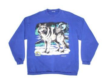 Vintage 90s Wildlife Wolf Sweatshirt