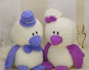 KNITTING PATTERN - Birds of a Feather (Love Birds Wedding) -  Knitting Pattern Download From Knitting by Post