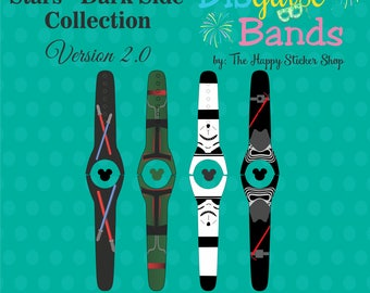 Dark Side Magic Band 2.0 Decal - Mix & Match Magic Band Skins - Waterproof, Sunscreen Proof, RTS Ready to Ship Magic Band Decal - DISguise 2