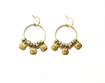 Cat Lady Earrings with Vintage Kuchi Bellydancer Beads and Cat Head Charms