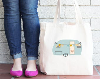 Airstream Wedding Personalized Boho Trailer Tote Bag // Bride and Groom Initials Tote Bag