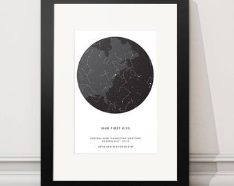 Personalised Star Map Print Custom Night Sky Poster Framed Star Constellation Print