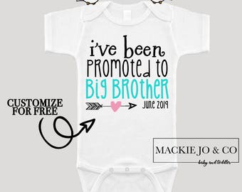 I've Been Promoted to Big Brother Future Big Brother Baby Bodysuit Customize Color and Date