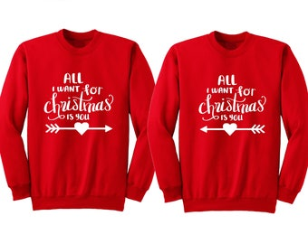 All I Want For Christmas Is You Couple Christmas Sweater, Matching Couple Christmas Sweater, Couple Holiday Sweater, Newlywed Christmas Gift