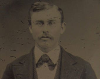 Penetrating Eyes - Original 1880's Handsome Young Mustache Man Tintype Photograph - Free Shipping