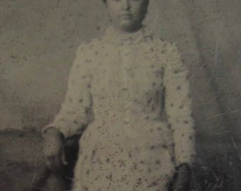 Original 1870's Stoic Pretty Young Woman Tintype Photograph - Free Shipping